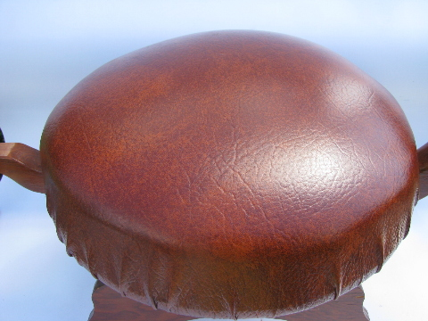 70s hippie vintage wood turtle footstool, retro stool or cute end table