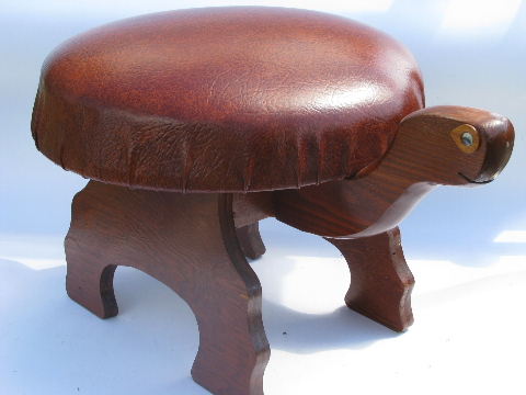 70s Hippie Vintage Wood Turtle Footstool Retro Stool Or