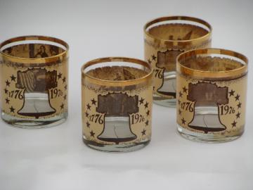 70s low-balls set w/ Founding Fathers 1776, old-fashioned rocks glasses