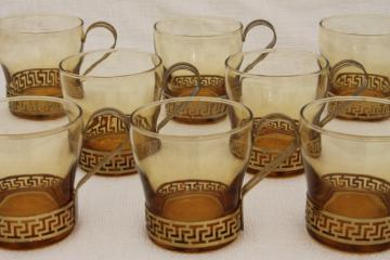 70s mod amber bar glasses w/ greek key bands, set of 8 vintage Libbey glass punch cups