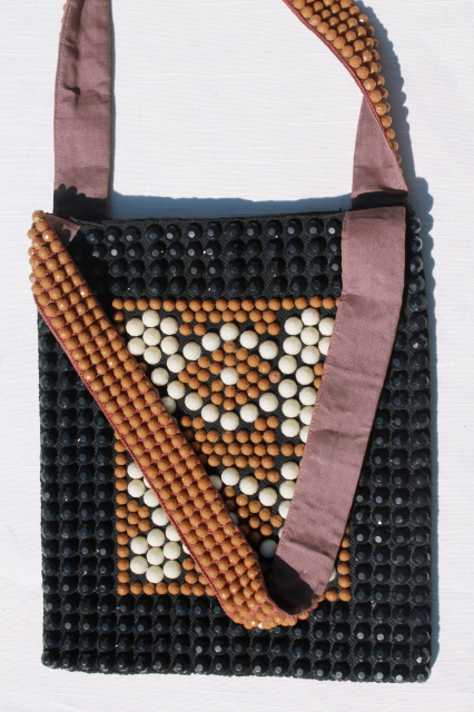 70s mod disco vintage plastic bead shoulder bag purse, tan and black