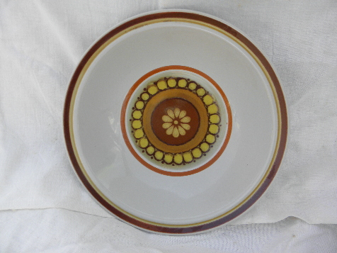70s mod Valencia sunburst flower stoneware pottery vegetable bowl, Japan