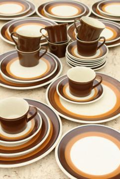 70s mod vintage Imperial Japan stoneware, Mocha brown bands pottery dinnerware set for 8