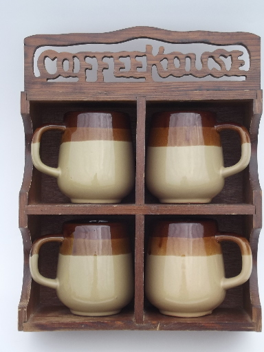 70s Retro Brown Band Stoneware Mugs Cups Set In Wood