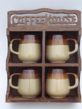70s retro brown band stoneware mugs, cups set in wood Coffee House rack