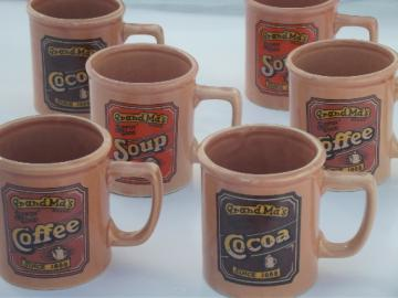 70s retro ceramic mugs for Coffee, Soup, Cocoa, Grand Ma's Brand 'labels'