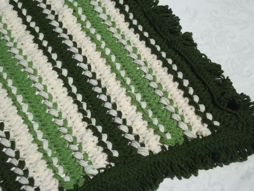 70s retro hairpin lace crochet afghan bedspread,  shades of green & cream