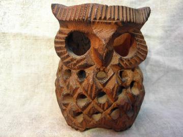 70s retro hand-carved wood owl candle holder, vintage luminaria lamp