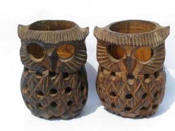 70s retro hand-carved wood owl candle holders, vintage luminaria lamps