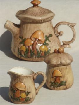 70s retro mushrooms ceramic  kitchen set, vintage tea pot, creamer & sugar