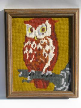 70s retro needlepoint owl picture, framed vintage needlework