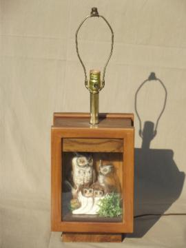 70s retro owl lamp, vintage wood shadowbox lamp  w/ family of china owls