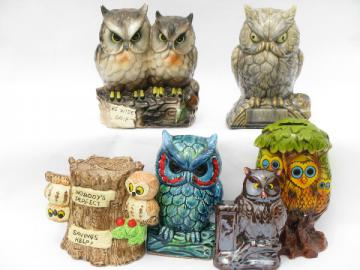 70s retro owls collection, vintage ceramic owl coin banks lot