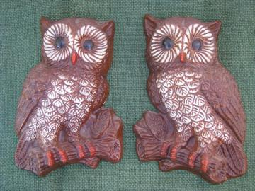70s retro owls, vintage owl pair wall art plaques