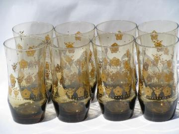 70s tawny brown smoke glasses, retro daisy flowers, set of 8 tumblers