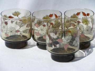 70s tawny brown smoke glasses, retro flower power print, set of 4