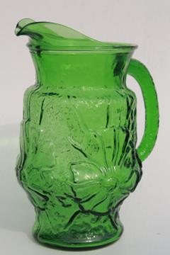 70s vintage Anchor Hocking Rainflower pattern pitcher, retro green glass