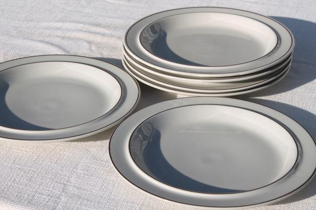 70s vintage Arabia - Finland Fennica stoneware pottery dinner plates set of 6