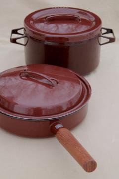 70s vintage Arabia enamel stock pot & pan, Scandinavian modern kobenstyle cookware