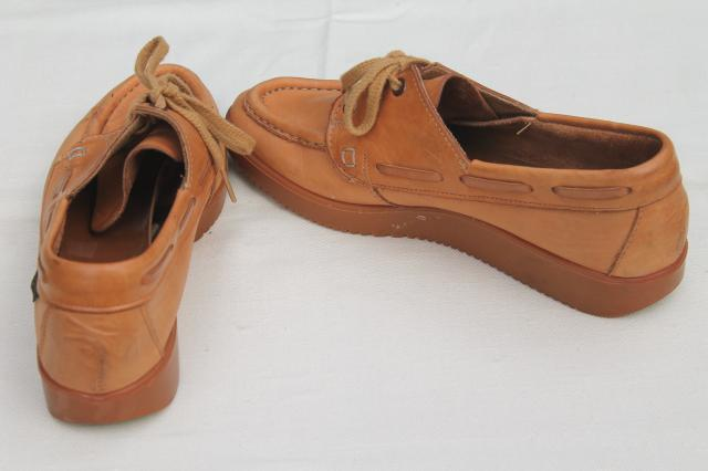 70s vintage Bass leather rubber sole mocs, ladies size 8 1/2 loafer moccasins