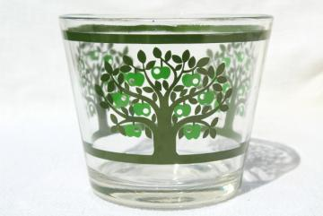 70s vintage Colony glass bowl or ice bucket, mod green apple tree print design