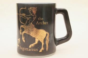 70s vintage Federal glass coffee mug, Sagittarius astrological zodiac sign