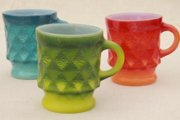 70s vintage Fire King Kimberly glass coffee mugs, retro orange, green, blue