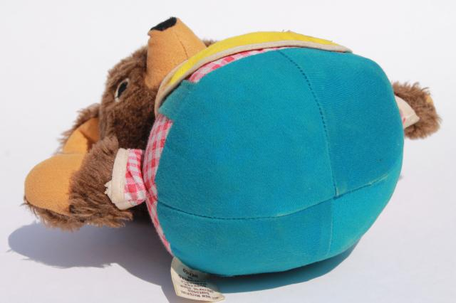 70s vintage Fisher Price roly poly teddy bear chime ball toy, plush chubby cub