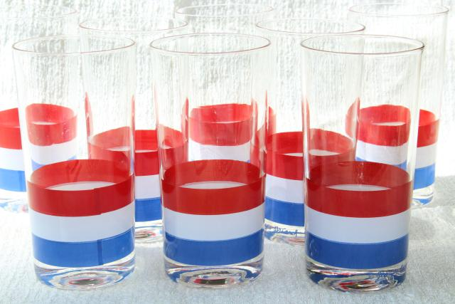 70s vintage Georges Briard glassware, mod red white blue stripes tall tumbler drinking glasses
