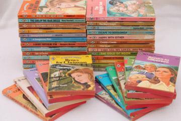 70s vintage Harlequin romances, pulp cover paperback romance novels lot