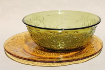 70s vintage Indiana glass depression daisy dishes, amber wheat gold & avocado green