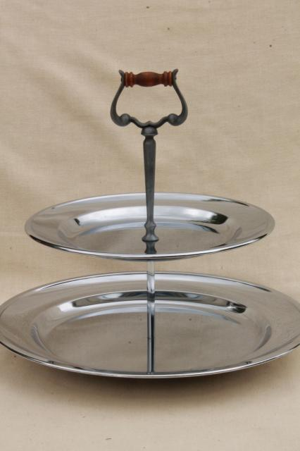 70s vintage Kromex for Heritage House sandwich / snack server tray, tiered plate serving stand