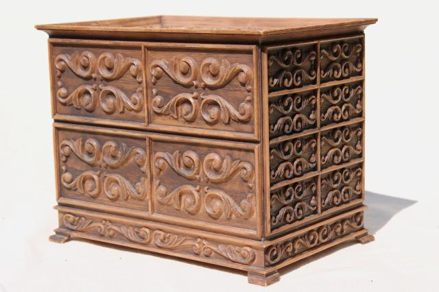70s vintage Lerner plastic jewelry box / sewing box, carved wood look chest of drawers