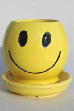 70s vintage McCoy pottery planter pot, yellow ceramic smiley face, retro hipster style!