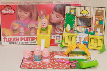 70s vintage Play Doh Fuzzy Pumper barber set in original box dated 1977