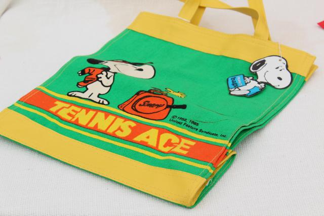 70s vintage Snoopy Peanuts tennis ace printed cotton canvas tote bag w/ tag