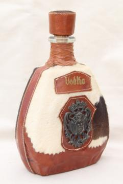 70s vintage Vodka decanter, fur cowhide or horse hair leather wrapped bottle