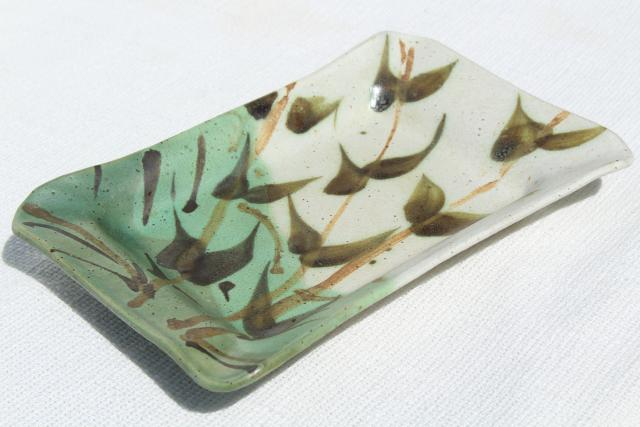 70s vintage artisan pottery tray, hand painted green bamboo brush washer tray