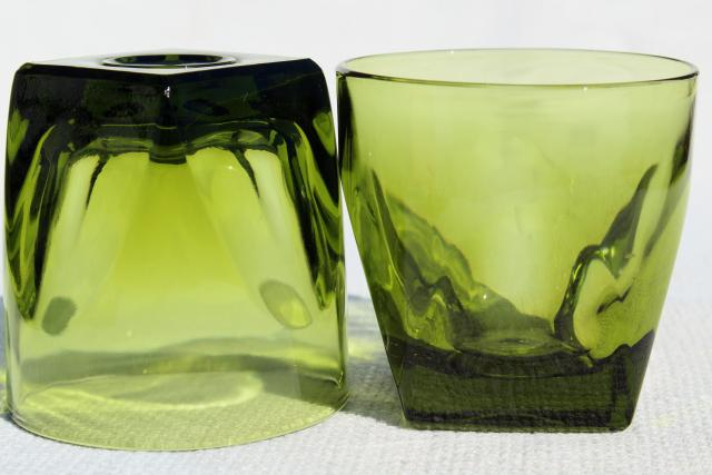 70s vintage avocado green glass on the rocks tumblers, Colony square base tumblers