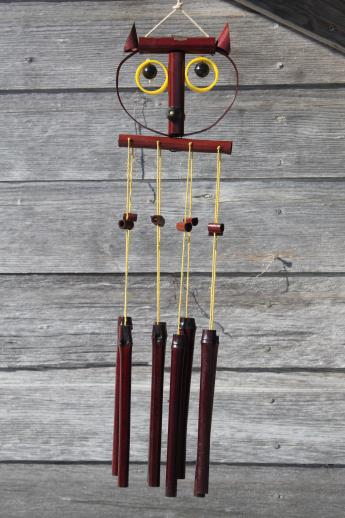 Super 70s vintage bamboo wind chimes, retro owl windchime in original  QN66
