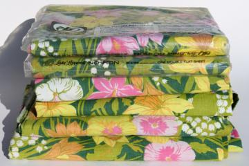 70s vintage bedding, retro lime green & pink flowered print fabric, new in package bed sheets