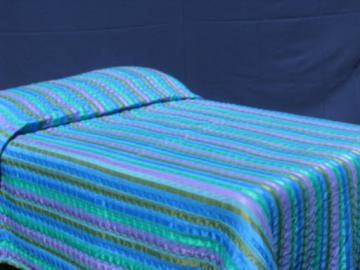 70s vintage bedspread, synthetic silk ribbon stripes, peacock blue colors