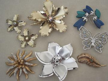 70s vintage butterfly & flower pins collection, costume jewelry lot