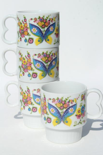70s vintage ceramic coffee mugs, retro hippie butterflies & daisies print