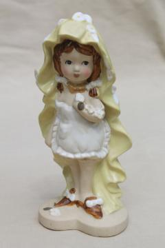 70s vintage ceramic girl figurine, retro LUV flower child, Lipper & Mann Japan