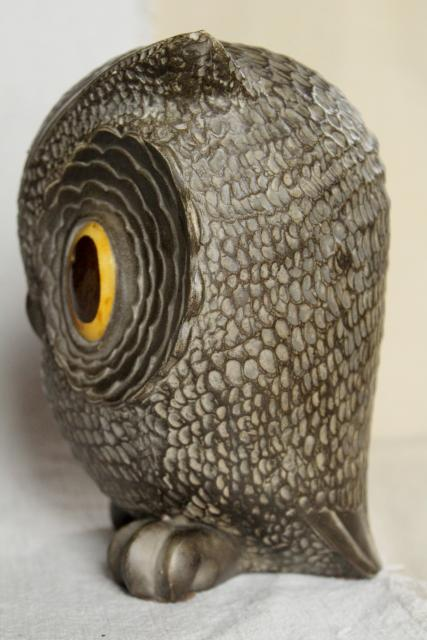 70s vintage ceramic owl, wise old owl w/ big eyed mod look, hippie retro spirit animal