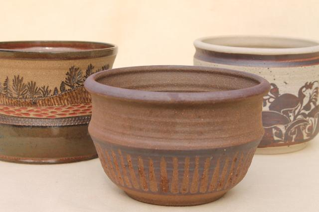 70s vintage clay pot planters, rustic studio pottery w/ earth tone trees & mushrooms