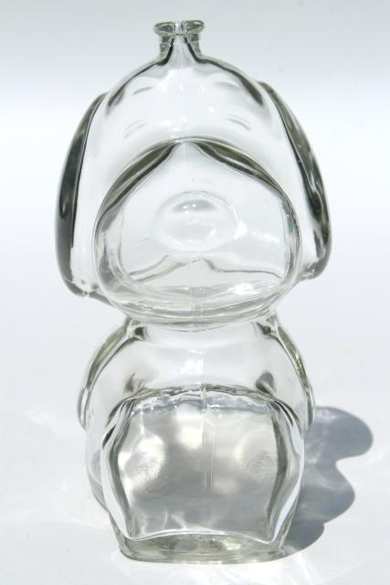 70s vintage clear glass Snoopy dog piggy bank, Peanuts coin savings bank
