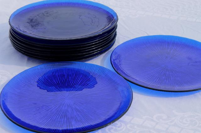 Vintage Cobalt Blue Glass Dinner Plates Retro Ice