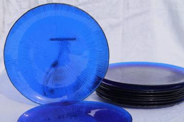 70s vintage cobalt blue glass dinner plates, retro ice texture Sasaki rain glass